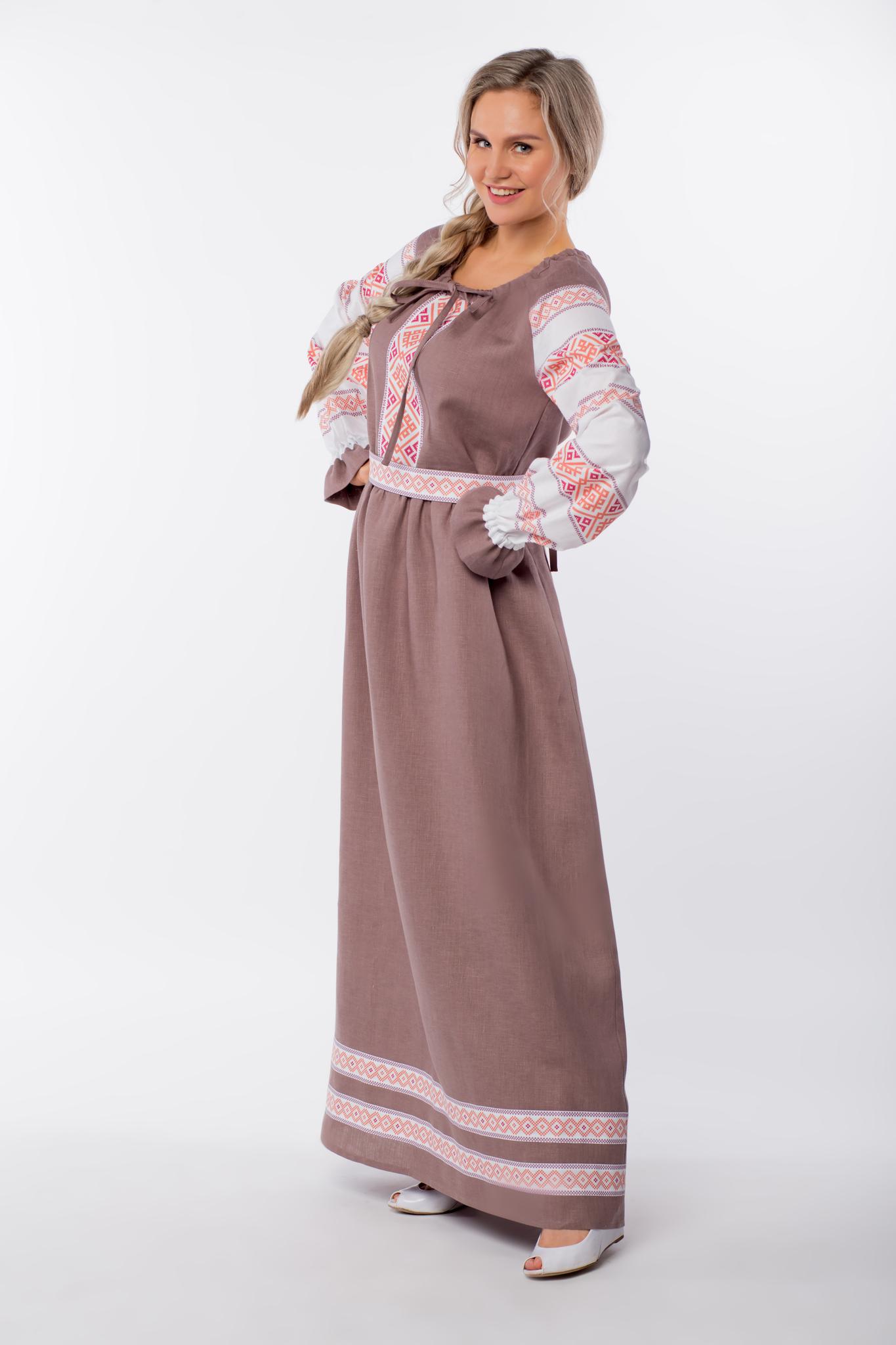 Платье льняное Родные берега вид сбоку