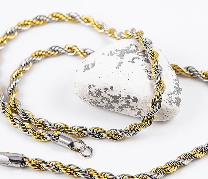 SSNM-1300GD-5 Крученая цепочка «Spikes» из стали «серебро с золотом» (55 см) фото 03