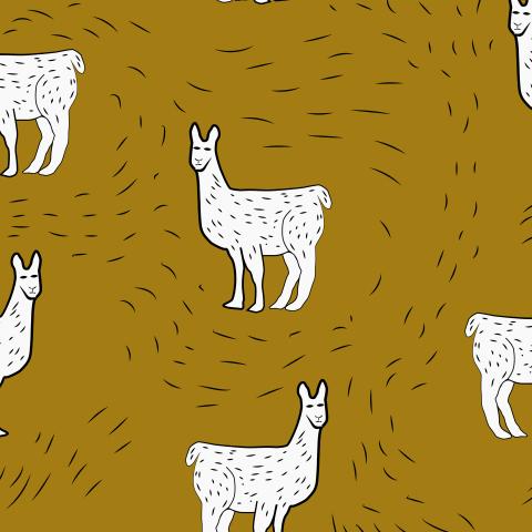 Ламы на горчичном фоне