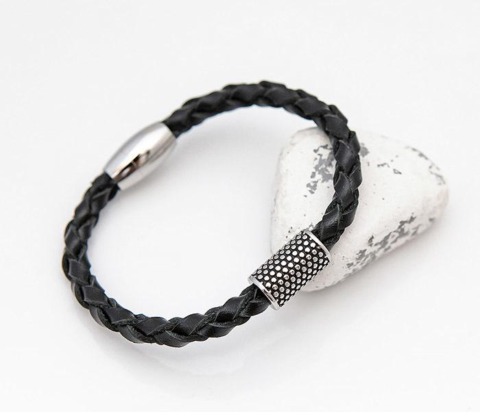 BL808-1 Мужской браслет из кожи со стальным цилиндром фото 05