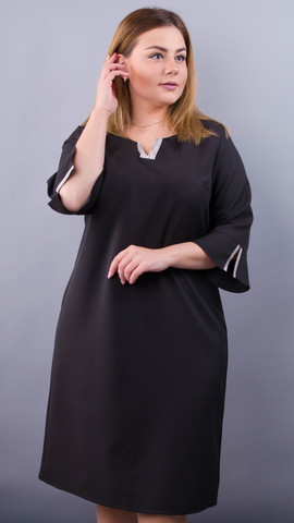 Сьюзен. Нарядное платье plus size. Черный.