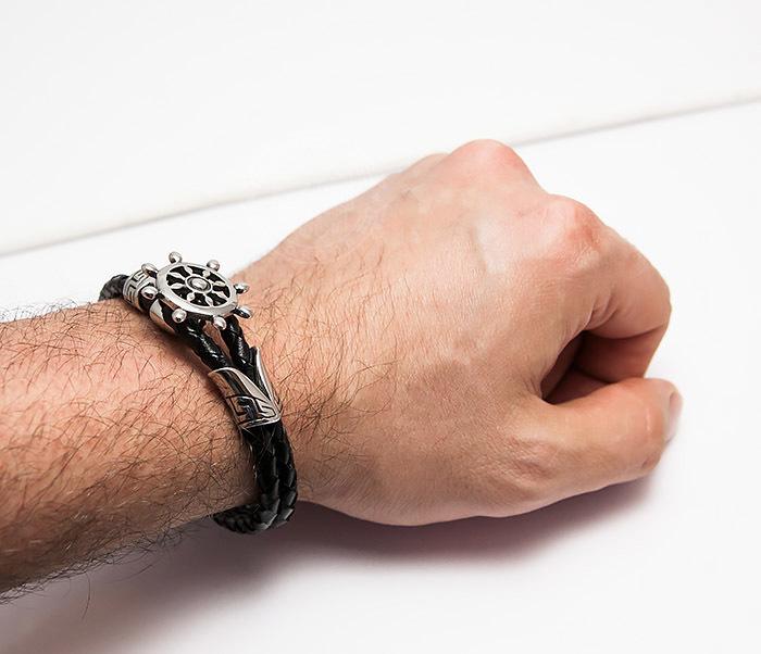 BM464 Мужской браслет из кожаного шнура со стальным штурвалом (20 см) фото 08