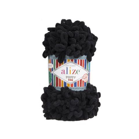 Купить Пряжа Ализе Пуффи Файн Код цвета 60 Черный | Интернет-магазин пряжи «Пряха»