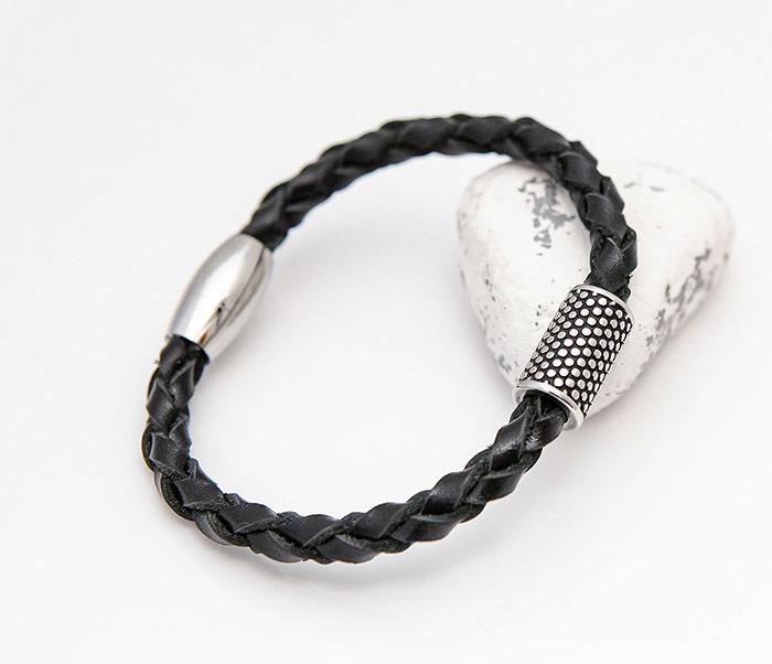 BL808-1 Мужской браслет из кожи со стальным цилиндром фото 06