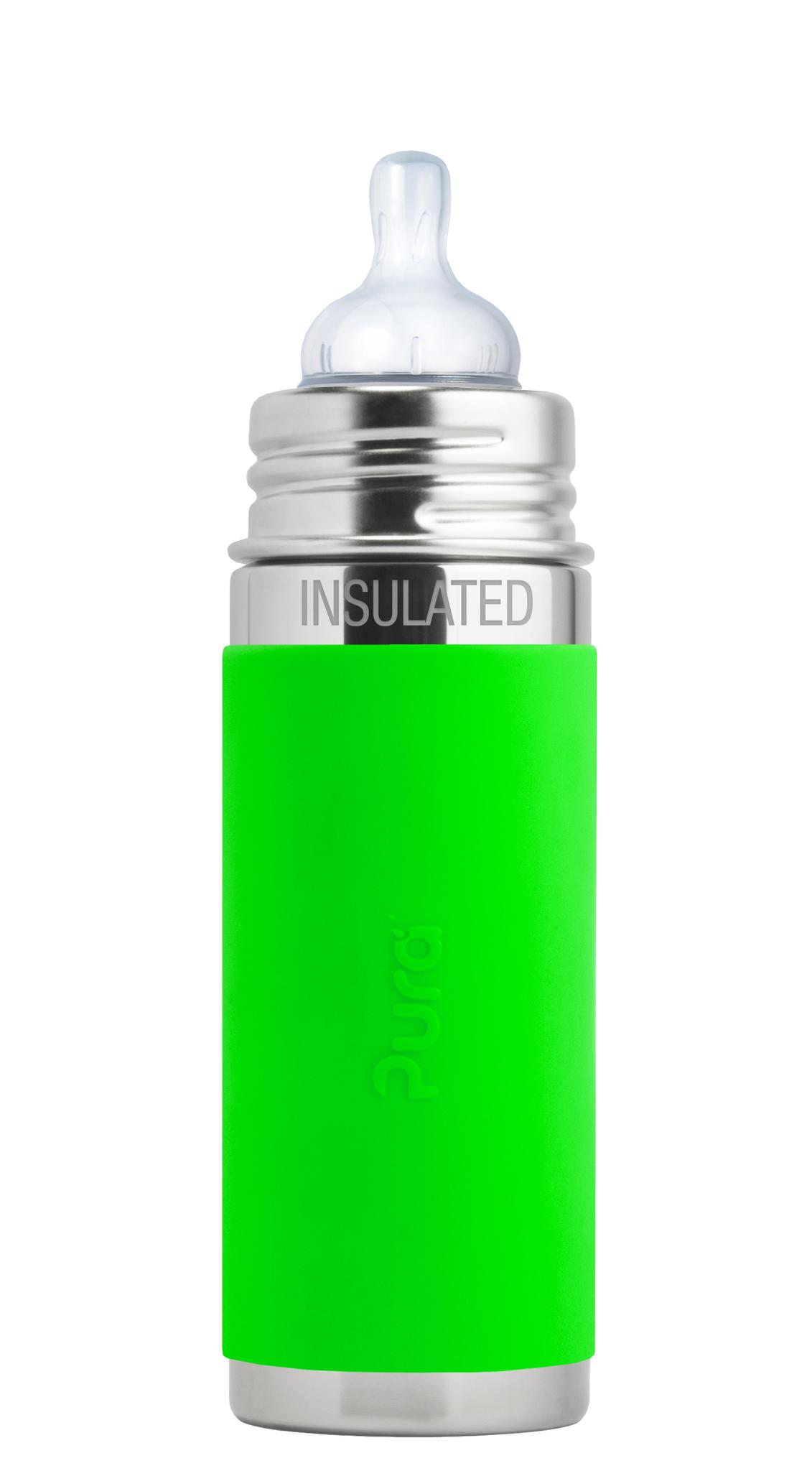 Детская ТЕРМОбутылочка для кормления Pura Kiki 260 мл зеленый