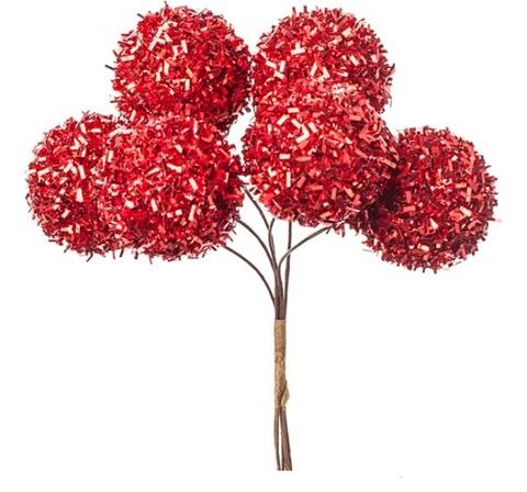 Набор шариков на вставках 6шт., размер: D3xH14см, цвет: красный