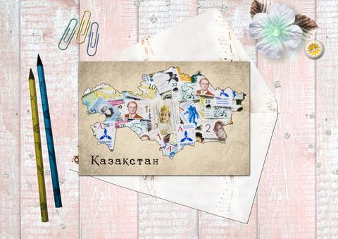 Карта Казахстана с марками