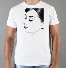 Футболка с принтом Одри Хепбёрн (Audrey Hepburn) белая 007