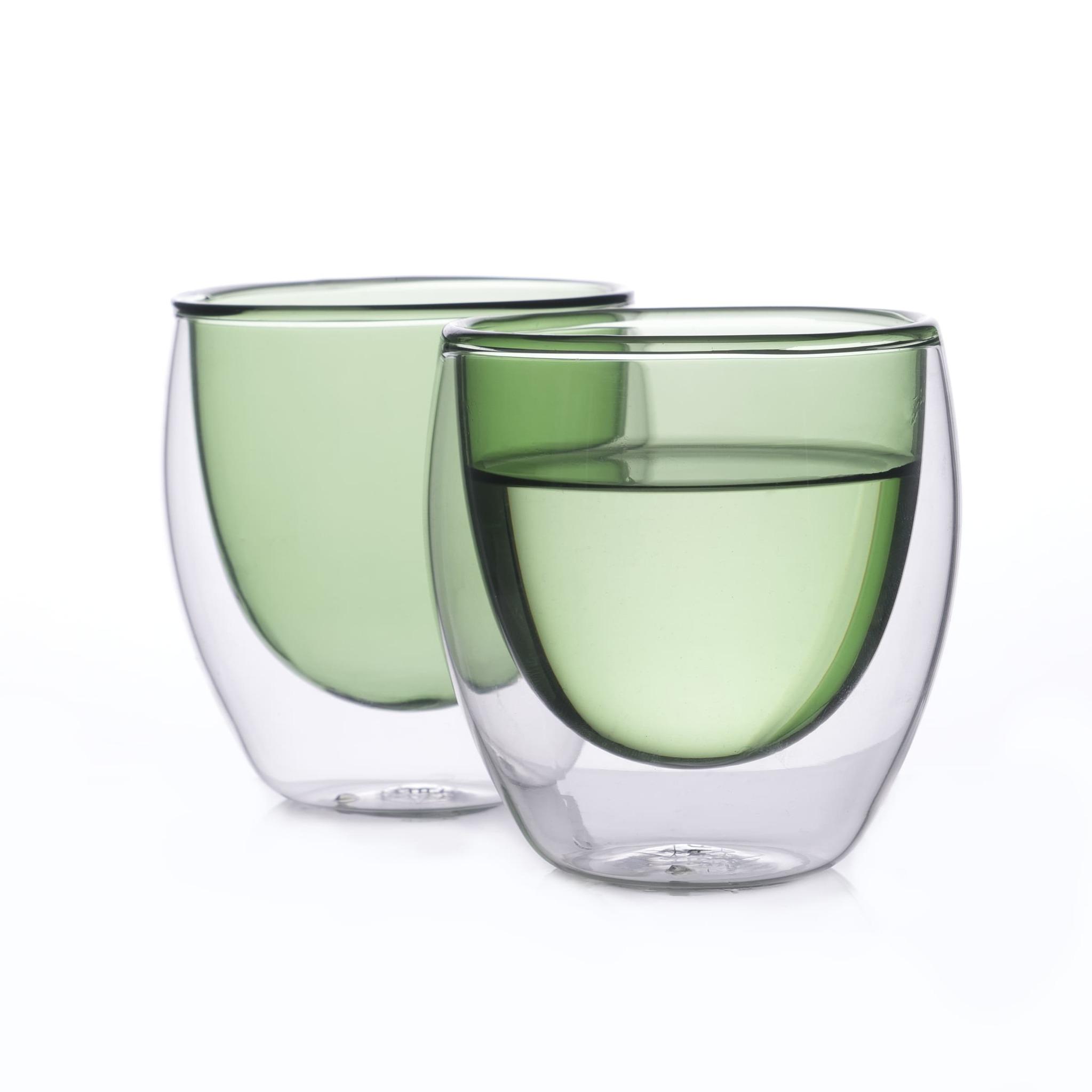 Цветные стаканы и кружки Набор стаканов из двойного стекла зеленого цвета 250мл, 2 шт. зеленый3.jpg