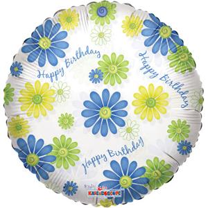Фольгированный шар С Днем Рождения Цветочный узор 18