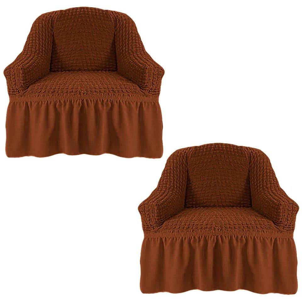 Чехол на два кресла, коричневый