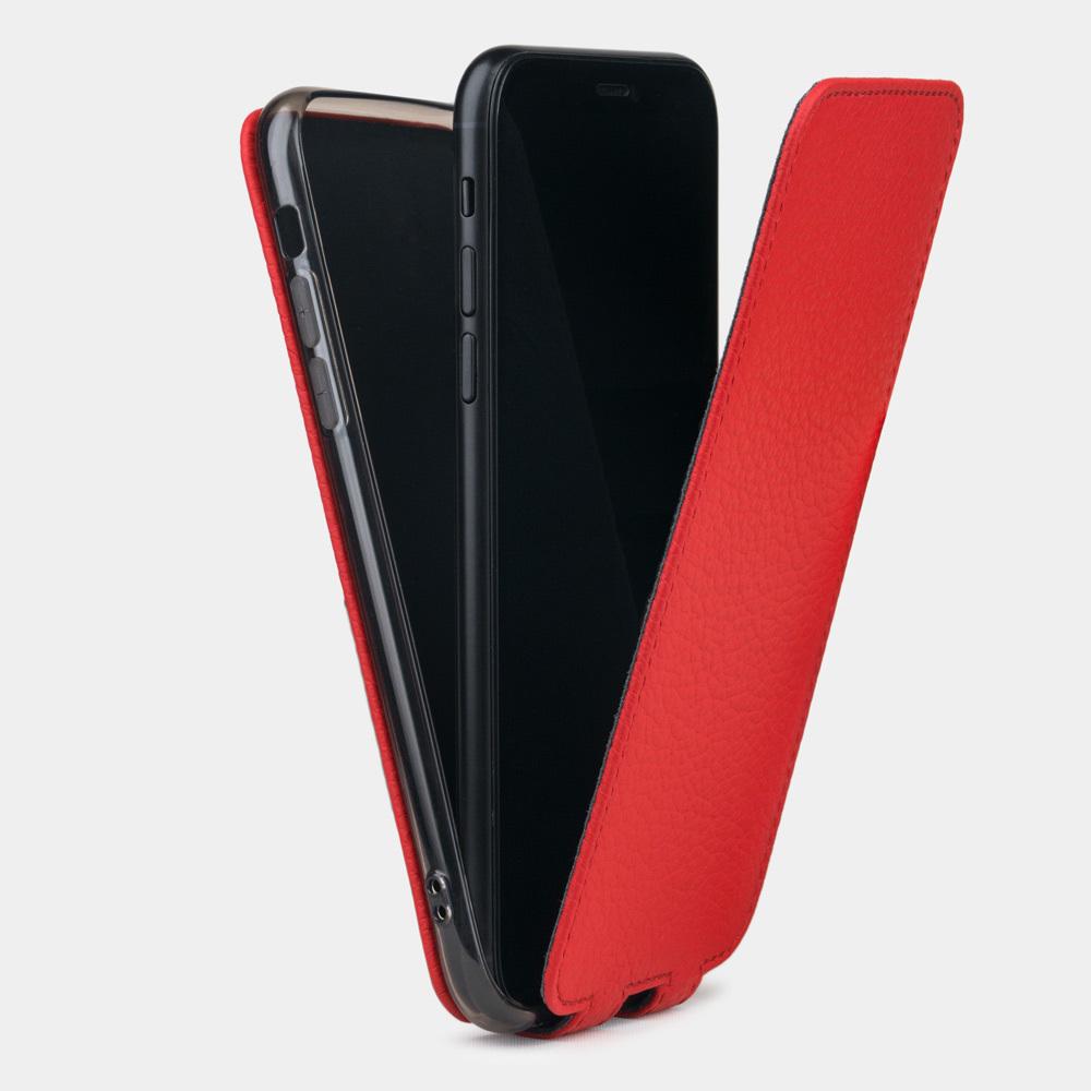 Чехол для iPhone XR из натуральной кожи теленка, красного цвета