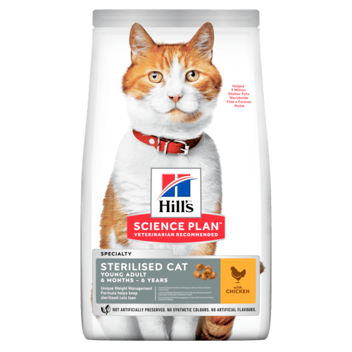 Сухой корм Корм для стерилизованных кошек Hill`s Science Plan Sterilised Cat Young Adult, с курицей sp-feline-science-plan-sterilised-cat-young-adult-chicken-dry-productShot_500.png.rendition.1920.png