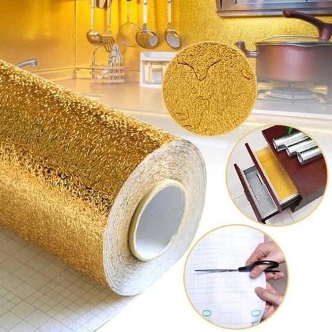Алюминиевая фольга золотая для кухни 60 см / 200 см