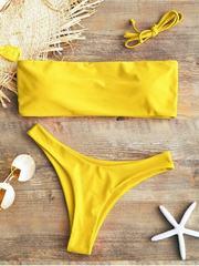 купальник раздельный бандо яркий желтый Yellow Bright 2
