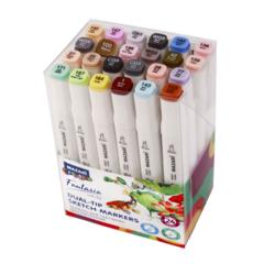 Mazari Fantasia White набор маркеров для скетчинга 24 шт двусторонние спиртовые пуля/долото 2.5-6.2 мм (серые + пастельные)