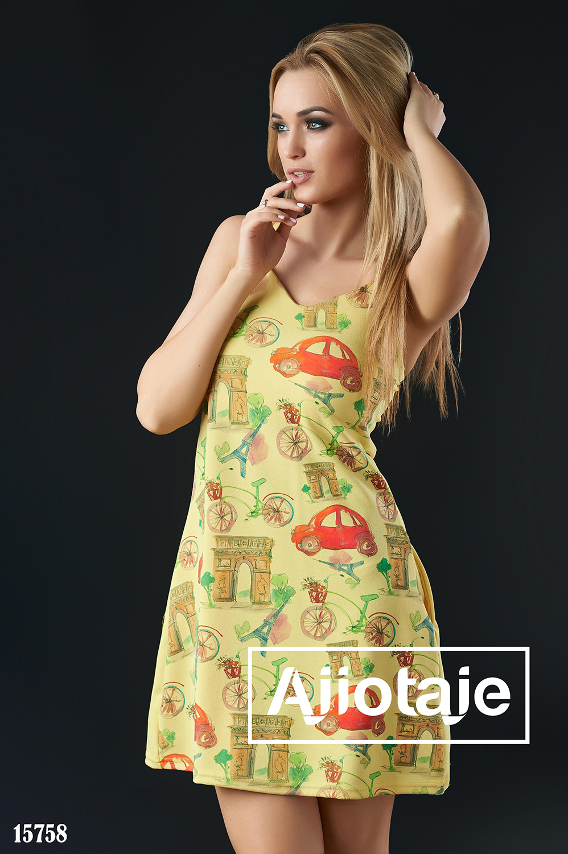Платье мини на тонких бретелях желтого цвета