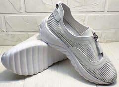 Кожаные сникерсы кроссовки с белой подошвой женские летние Wollen P029-259-02 All White.