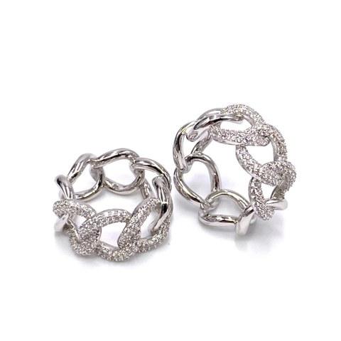 10028 - Кольцо-цепь из серебра,  крупные звенья в обсыпке из микроцирконов
