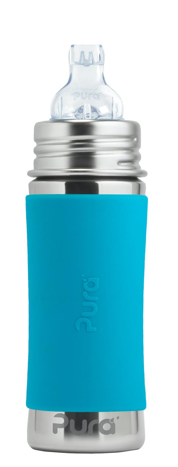 Детская стальная бутылочка-поильник Pura Kiki 325 мл (6 мес+) (голубой)