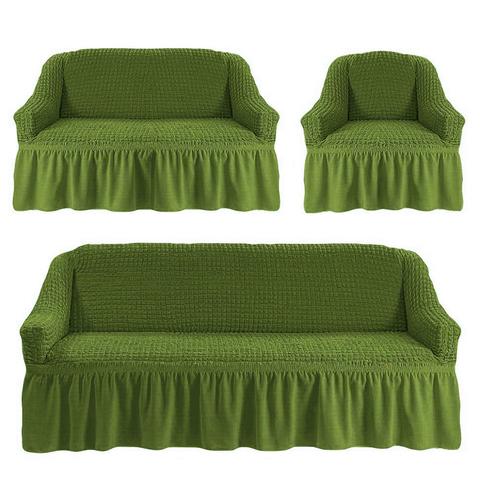 Чехлы на трехместный диван и двухместный диван + кресло,изумруд