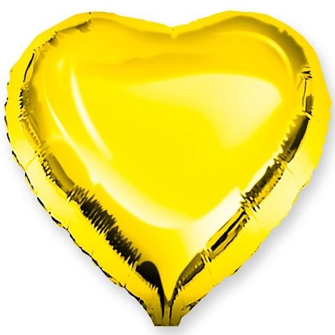 Шар-сердце золото, 45 см