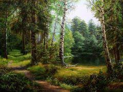 Картина раскраска по номерам 50x65 Тропинка в лесу вдоль реки