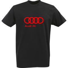 Футболка с однотонным принтом Ауди (Audi A6) черная 0041