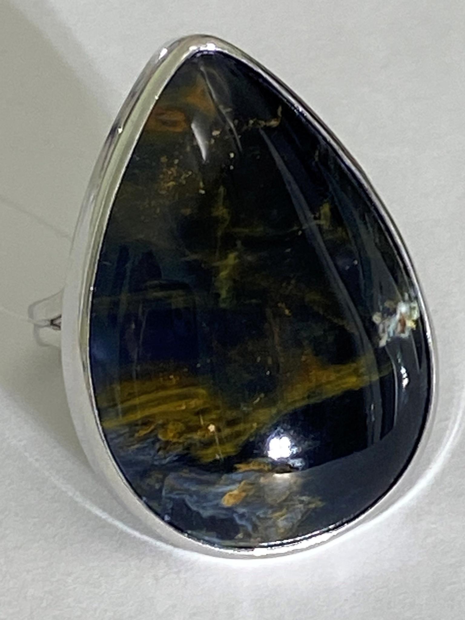 Петерсит груша М (кольцо из серебра)