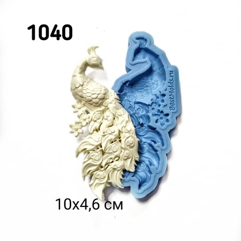 1040 Молд силиконовый. Павлин маленький правый.