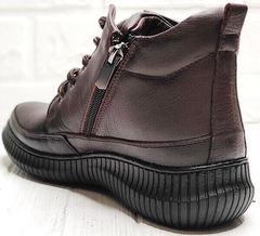 Женские высокие кеды ботинки с молнией Evromoda 535-2010 S.A. Dark Brown.