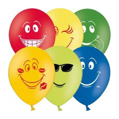 Воздушные шары Смайлы разноцветные