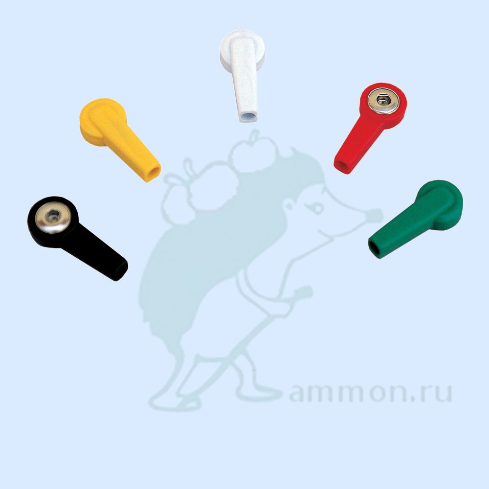 """Адаптер с разъемом 4 мм и коннектором """"кнопка"""" Fiab PG-922/4T красный, зеленый, белый, черный, желтый (451 руб/шт)"""