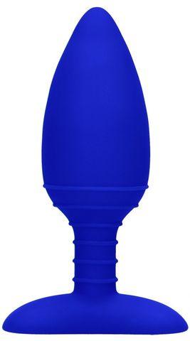 Синяя анальная пробка Glow с вибрацией и подогревом - 12 см.