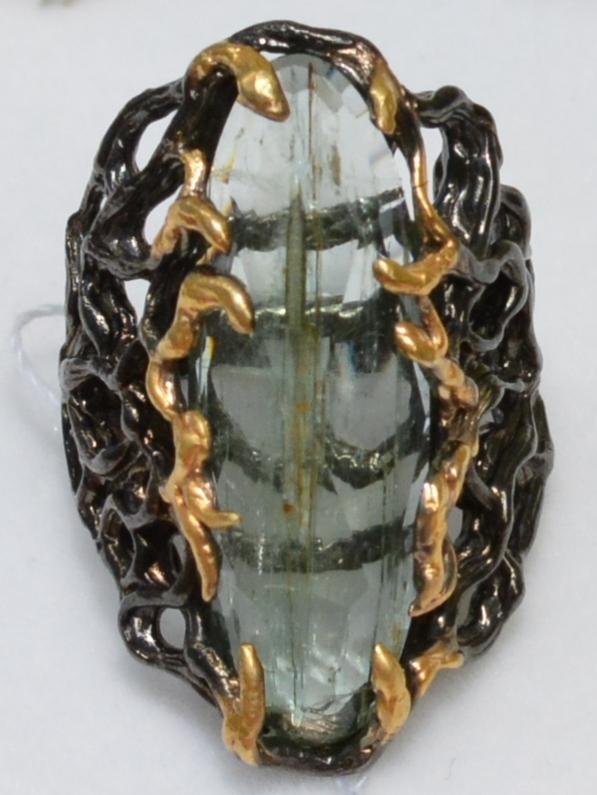 Колеус-аквамарин (серебряное кольцо с позолотой)