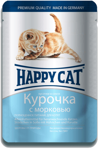 купить Happy Cat Kitten Chunks in Gravy with Chicken and Carrots пауч (влажный корм) для котят курочка с морковью