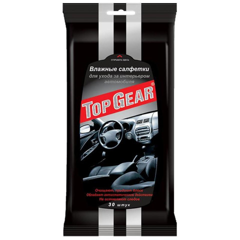 Салфетки влажные для салона автомобиля Top Gear (30 штук в упаковке)