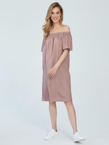 BM Платье в полоску на резинке Какао