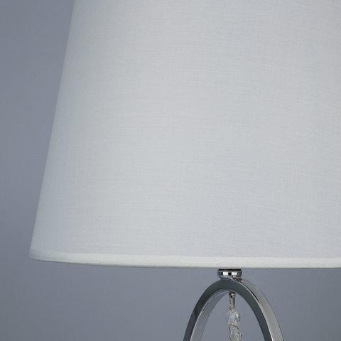 Настольная лампа с белым абажуром 01055/1 хром/прозрачный хрусталь Strotskis