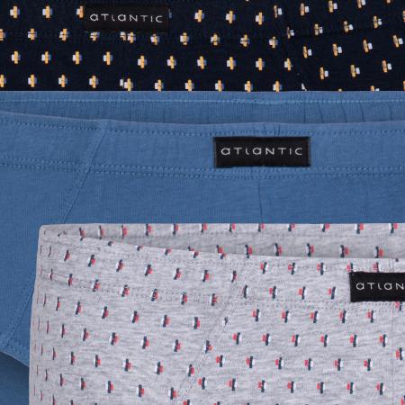 Мужские трусы слипы классика Atlantic, набор 3 шт., хлопок, темно-синие + деним + серый меланж, 3MP-092
