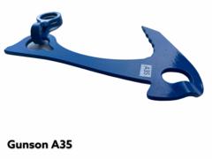 Якорь средний/левый отгиб ножки/синий/L-160мм/40мм серьга/S-3мм/t-50/30kN/Вес-82g.