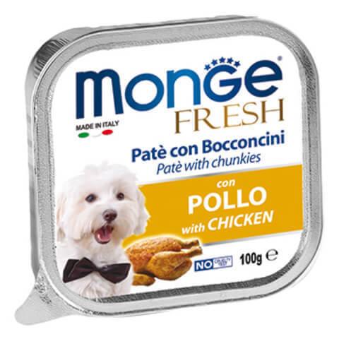 купить консервы Monge Fresh with Chicken Паштет из мяса курицы для взрослых собак всех пород