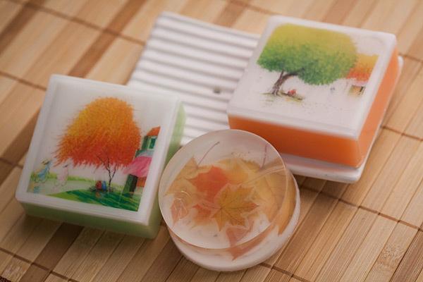 Мыло с осенними листьями. Водорастворимая бумага
