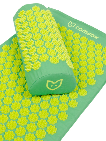 Набор массажный акупунктурный коврик + подушка Comfox (зеленый)