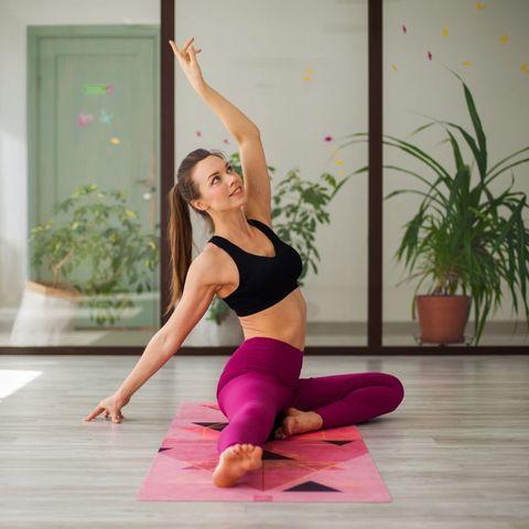 Коврик для йоги Rose Gold из микрофибры и каучука