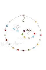 Комплект Estate серебристый (серьги голубые Piccolo, ожерелье длинное, браслет)