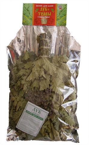 Веник с травами — дуб со зверобоем (в упаковке)