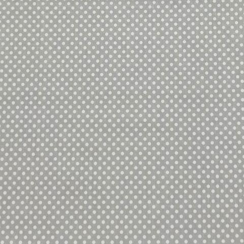 Ткань хлопковая белый горошек 3 мм на сером