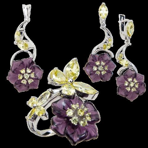 Комплект украшений с цветами из фиолетового кварца и фианитами № 139