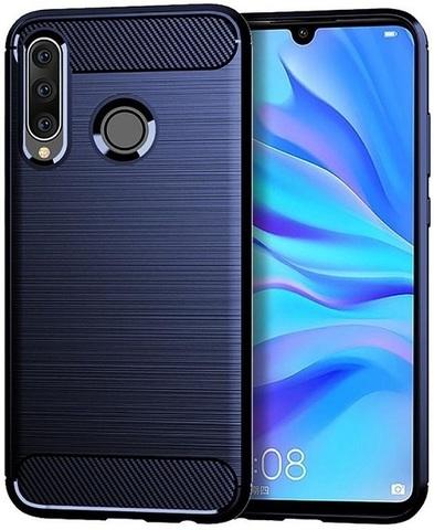 Чехол для Huawei P30 Lite (Nova 4E) цвет Blue (синий), серия Carbon от Caseport